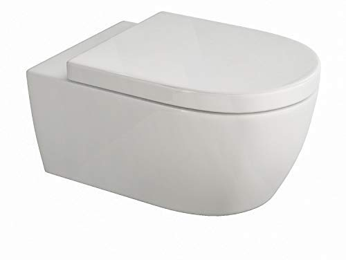 SSWW   Design Hänge WC   Spülrandlose Toilette   Wand-WC   WC-Set   Inkl. abnehmbaren WC-Sitz mit Softclose Absenkautomatik   Lang   545 x 360 x 330 mm