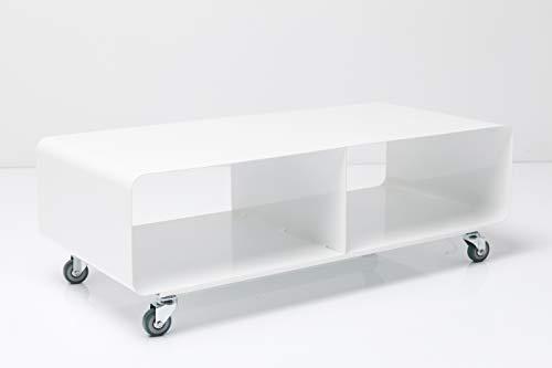 Kare Design Lounge M TV Mobil, Hochglanz Lack, modernes, schmales Lowboard Möbel im Retro-Look, Couchtisch mit Rollen, Weiß (H/B/T) 30x90x42cm