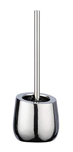 WENKO WC-Garnitur Badi - WC-Bürstenhalter mit Silikonborsten und Randreiniger, Keramik, 13,5 x 38 x 13,5 cm, chrom