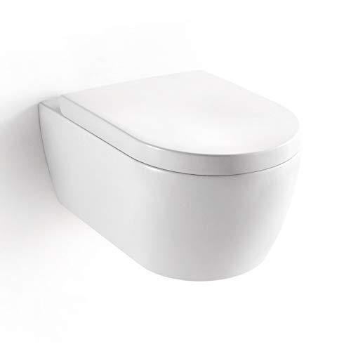 Soho 2.0 Hänge Wand WC mit geschlossenem Unterspülrand - Tiefspüler - Brillant Weiß mit Duroplast WC-Sitz und Nano Beschichtung