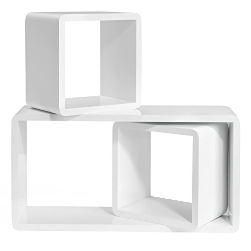 SONGMICS Wandregal 3er Set Cube Regal Schweberegale, Tiefe 15 cm, Würfelregale Bücherregal MDF Weiß LWS50WT