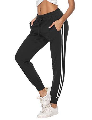 Hawiton Damen Sporthose Jogginghose Lang Streifen Baumwolle Freizeithose Hose für Fitness Training Schwarz L