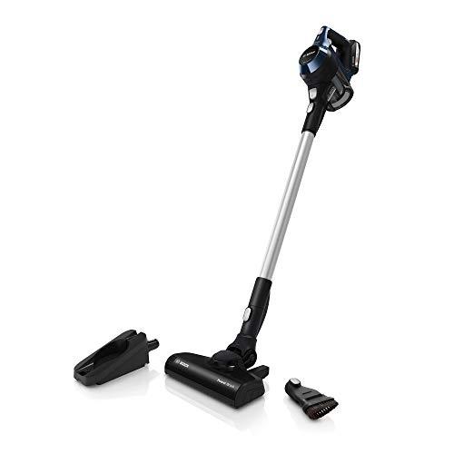 Bosch BBS611PCK Unlimited Serie 6 kabelloser Handstaubsauger (18V Mehr-Geräte-Akku, austauschbarer Akku, verlängerbare Laufzeit, geringes Gewicht, Reinigung vom Boden bis zur Decke) schwarz/blau