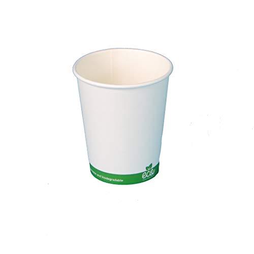 Pro DP 1000 Bio Automatenbecher Kaffeebecher Coffee to go Thermobecher Heißgetränke Pappbecher weiß mit Bio Eco Druck, Hartpapier + Bio Beschichtung kompostierbar - 7oz 180ml Ø70mm 9cm hoch 8g