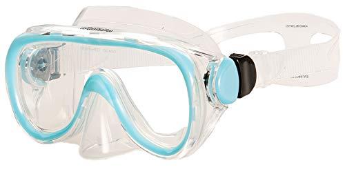 AQUAZON Dolphin Junior Medium Schnorchelbrille, Taucherbrille, Schwimmbrille, Tauchmaske für Kinder, Jugendliche von 7-14 Jahren, Tempered Glas, sehr robust, tolle Paßform, Farbe:blau
