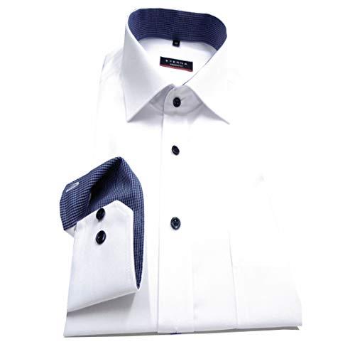 eterna Herren Langarmhemd Business-Hemd Modern Fit Kent-Kragen unifarben mit Patch (Weiß F1, 45)