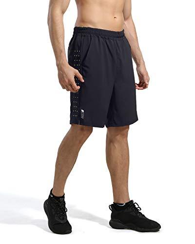 HUMBGO 7 ZOll Athletic Running Shorts für Kurze Hosen Herren - Schnelltrocknende, leichte Turnhose für das Training im Freien beim, L, Schwarz