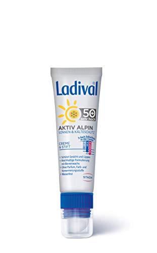 LADIVAL Aktiv Alpin Sonnschutz und Kälteschutz LSF 50+, Winter Sonnencreme für Gesicht und Lippen, ohne Farb- und Konservierungsstoffe, wasserfest, 30 ml