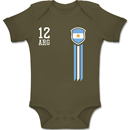 Shirtracer Fußball-Europameisterschaft 2020 - Baby - 12. Mann Argentinien Fanshirt - 12/18 Monate - Olivgrün - BZ10 - Baby Body Kurzarm für Jungen und Mädchen