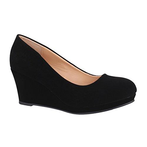 Elara Damen Pumps Keilabsatz Schuhe mit Plateau Chunkyrayan B8011Y-PM-Schwarz-41