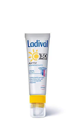 Ladival Aktiv Sonnenschutz für Gesicht und Lippen LSF 30 – Parfümfreie 2in1 Sonnencreme mit Lippenschutz-Stift – ohne Farb- und Konservierungsstoffe – wasserfest – 1 x 50 ml