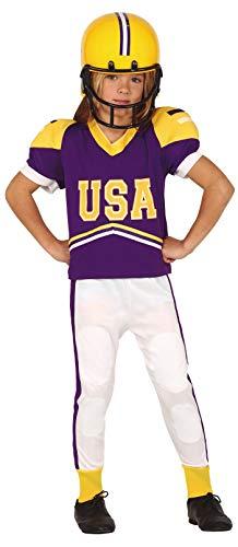 Jungenkostüm American Footballer Quarterback Sport Fußball Kostüm Outfit 5–12 Jahre (7–9 Jahre) Lila Gelb