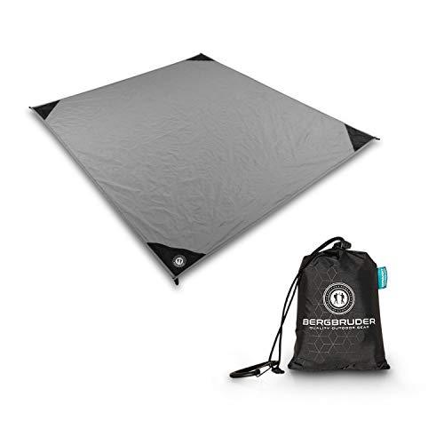 BERGBRUDER Nylon Picknickdecke - Pocket Blanket Wasserdicht, Ultraleicht & kompakt - Ground Sheet, Campingdecke, Stranddecke mit Tasche und Karabiner (200cm x 140cm)