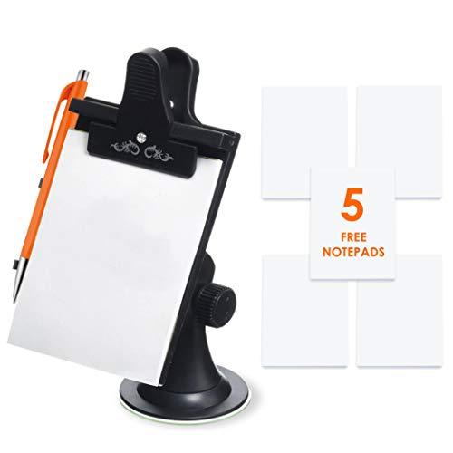 Mobi Lock Notizblock für's Auto/Memo Pad/Clip Board mit Stifthalter (Saughalter, Flexible Drehhalterung) - Jetzt mit 5 Ersatzpads mit 30 Seiten