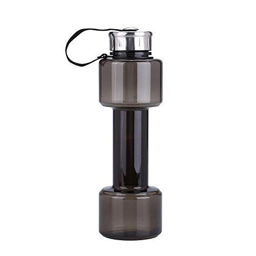 Asixx Trainings-Wasserflasche, 750 ml, hantelförmige Sport-Wasserflasche, Fitness-Studio-Training, Trinkkessel, Tasse, Küchenzubehör, Übung, Trinkflasche(Schwarzgrau)