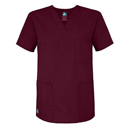 Adar Uniforms Medizinische Uniformen Unisex Top Krankenschwester Krankenhaus Berufskleidung - 601 - Burgundy - M
