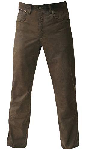 MADDOX Lederhose Glattleder Hose Leder Trachtenhose lang Trachten Lederjeans braun Robustes Nubukleder Biker Jeans Antik-Patina Trachtenlederhose Five-Pocket Reißverschluß Zipp, Größe:38