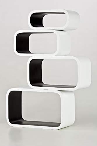 decodelic 4er Set Lounge Regal Cube Retro Style Wandregal (Innen schwarz)