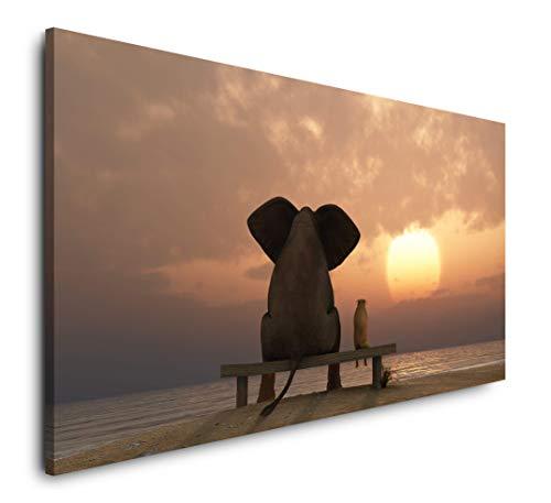 Paul Sinus Art Elefant und Hund schauen in Sonnenuntergang 120x 60cm Panorama Leinwand Bild XXL Format Wandbilder Wohnzimmer Wohnung Deko Kunstdrucke