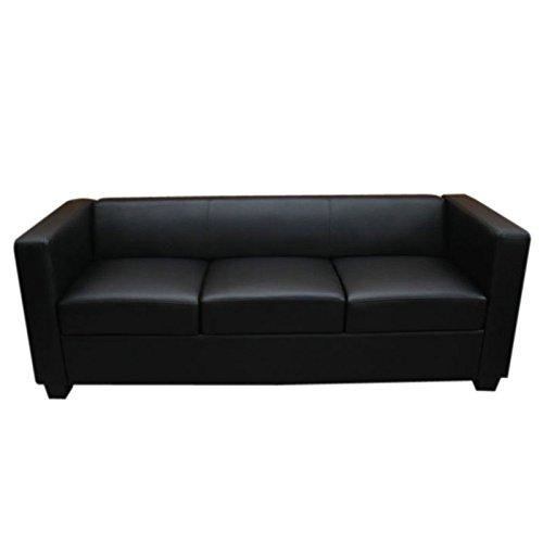 Mendler 3er Sofa Couch Loungesofa Lille ~ Leder, schwarz
