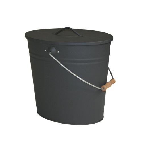 Kamino-Flam Ascheeimer mit Deckel - Kohleeimer 15 Liter aus Stahlblech im Schwarz - Kamineimer mit Deckel - Ascher Allzweckeimer für den Innen- und Außenbereich