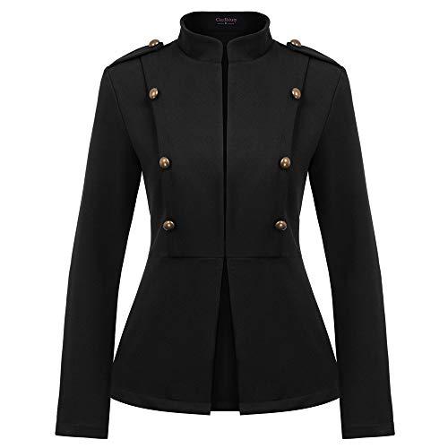 Curlbiuty Damen Mantel Vintage Stehkragen Cropped Button Down Military Light Knöpfe Verziert Jacke L Schwarz CU46-1