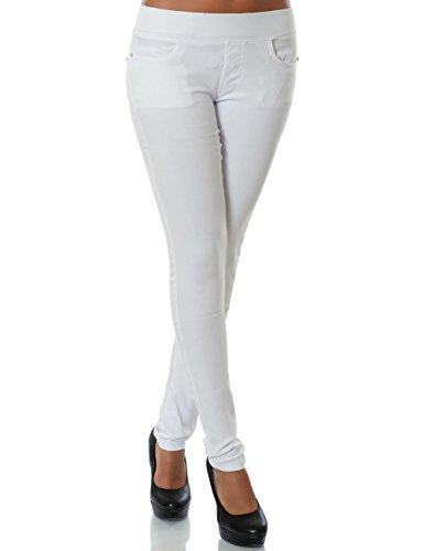 Daleus Damen Treggings Hose Skinny (Röhre weitere Farben) No 14028 Weiß XL / 42