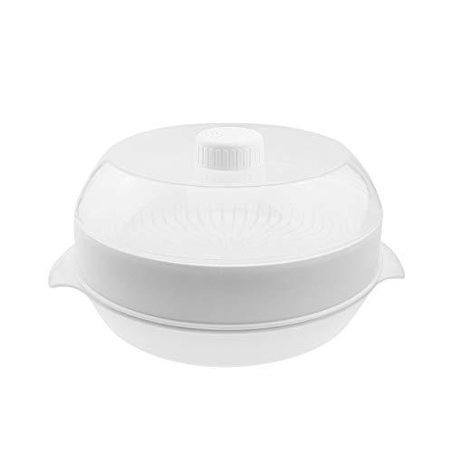 Dampfgarer SET 3-tlg. - Kunststoff, weiß, Topf mit Dampfkocher und Deckel, Mikrowellengeschirr, spülmaschinengeeignet, gefriergeeignet