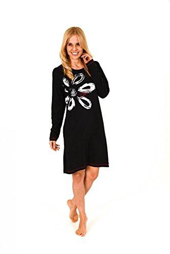 Unbekannt Damen Sleepshirt Nachthemd Langarm Bigshirt mit plazierten Druck 58752 B - 58754 B, Größe2:36/38, Farbe:schwarz