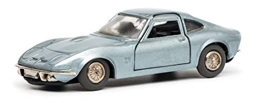 Schuco 450176200 Automatic Racer Opel GT, mit Aufziehwerk, Modellauto, Limitierte Auflage: 500 Stück, blau metallic