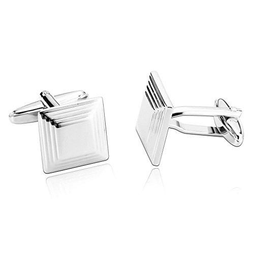 Daesar Schmuck 1 Paar Edelstahl Manschettenknopfe Herren Silber Tone Platz Art Deco Manschettenknopf 1.5x1.5CM