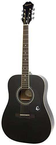 Epiphone DR-100 Dreadnaught Akustik-Gitarre (Ebenholz Lack, Mahagoni Korpus, Ausgewählte Fichtendecke, 25.5 Mensur, Palisander Griffbrett)