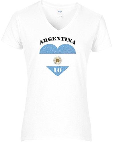 Elegantes Damen WM Shirt Argentinien Fussball Glitzeraufdruck Herz Argentina Nummer 10 2018, T-Shirt, Grösse S, weiß