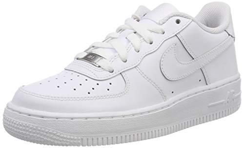 Nike Unisex-Kinder AIR Force 1 (GS) Low-Top, Weiß (117 White/White-White), 36 EU