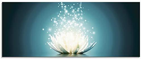 Artland Glasbilder Wandbild Glas Bild einteilig 125x50 cm Querformat Asien Botanik Blumen Blüten Lotusblume Seerose Modern türkis T9NM