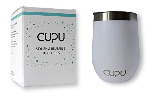 CUPU Kaffeebecher | to-Go | Edelstahl | Eco | Wiederverwendbar | 12oz / 350ml | Doppelwand Isolierung (Eisbär Weiß)