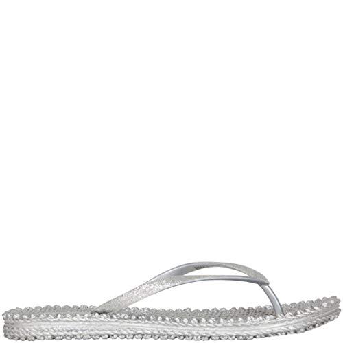 Ilse Jacobsen Damen Sandalen flach | Flip Flops mit Riemen | Schuhe mit Sohle aus Bast | Glitter Look | CHEERFUL01 ,37 EU,Silber