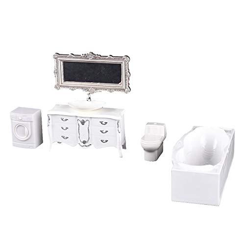 1/25 Puppenhaus Toilette Badewanne Waschbecken Waschmaschine Badezimmer Möbel