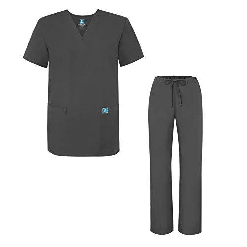 Adar Uniforms Unisex-Schrubb-Set - Medizinische Uniform mit Oberteil und Hose - 701 - Pewter - M