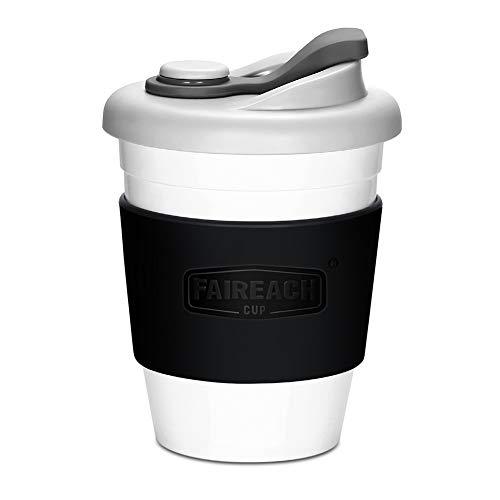 Faireach Coffee to Go Becher 340ml / 12oz, Mehrweg Kaffeebecher mit Deckel für Kaffee & Tee, Eco Reisebecher Cafe, BPA-frei, Spülmaschinenfest & Mikrowellengeeignet, Schwarz