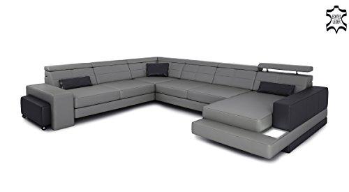 XXL Wohnlandschaft Ledersofa grau / schwarz Leder Eck Sofa Couch Ledercouch Ecksofa U-Form mit LED-Licht Designsofa IMOLA