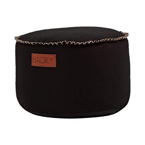 SACKit – RETROit Canvas Drum Black – Schwarz runder Indoor hocker – Perfekt für das Wohnzimmer – Kombinieren Sie den Sitzhocker mit einem Sitzsack – Dänisches Design - Sitzhocker Fußhocker