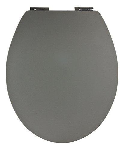SITZPLATZ - 40396 2 - WC-Sitz -Soft Touch in Grau - WC Brille mit Absenkautomatik - Toilettensitz mit Holz-Kern & Fast-Fix Schnellbefestigung & Soft Touch - Unempfindliche Oberfläche
