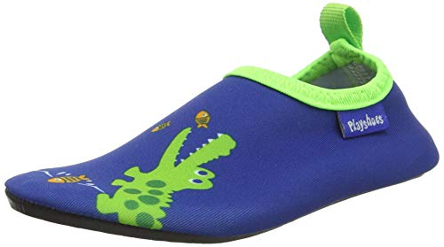 Playshoes Unisex-Kinder Barfuß-Schuhe, Badeschuhe Krokodil Aqua Schuhe, Blau (Marine), 22/23