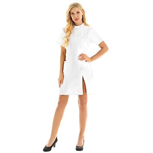 inhzoy Medizinische Uniformen Frauen Krankenschwester-Kleid Medizinische Arbeit Labor Kittel Arbeitskleidung Pflegerin Kostüm Cosplay Weiss Medium