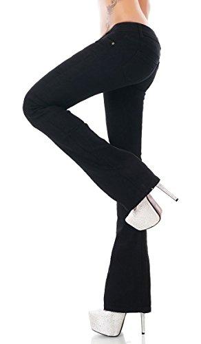 Label by Trendstylez Modische Damen Stretch Bootcut Jeans Schlag Hose in schwarz Größe 34