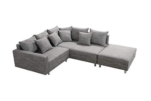 Küchen-Preisbombe Modernes Sofa Couch Ecksofa Eckcouch in Gewebestoff hellgrau mit Hocker Minsk R