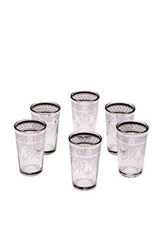 Orientalische verzierte Teegläser Set 6 Gläser bunt Gold | Marokkanische Tee Gläser 6 Farben Deko orientalisch | 6 x Orientalisches Marokkanisches Teeglas verziert | Muster auswählen (Weiss)