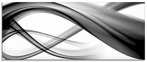 Artland Glasbilder Wandbild Glas Bild einteilig 125x50 cm Querformat Moderne Kunst Abstrakt Modern Rauch Welle Schwarz Weiß S7KQ