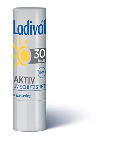 LADIVAL Aktiv UV-Schutzstift LSF 30, Lippenpflege mit UV-A- und UV-B Sonnenschutz, ohne Farb- und Konservierungsstoffe, wasserfest, 4.8 g